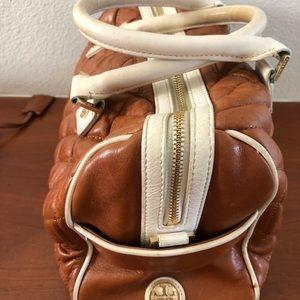 Tory Burch camel and cream satchel bag
